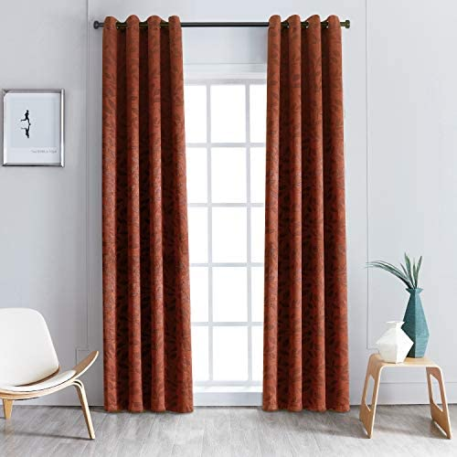 SUPERIOR Leaves Set of 2 Blackout Panel Curtains 52 x 108-Antique Copper