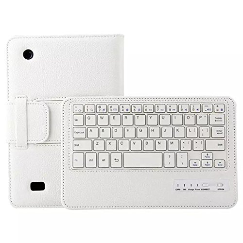 Kindle Fire 7 Cover Case,Bluetooth Keyboard Tablet Leather Case Cover For Kindle Fire HD 7 2015 7Inch (White)