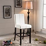 VisionXPro Inc. Luxury Creamy White Faux Leather Weave Decor Bar Stool White