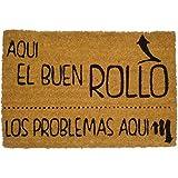 """Koko Doormats Felpudo para Entrada de Casa """"Aquí el buen rollo"""" Original y Divertido/Fibra Natural de Coco con Base de PVC, 40x60 cm"""