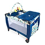 Tykegear Pack N Play Playard with Removable Diaper Changer, Storage Pocket, Toy Bar and Infant Bassinet (Blue)