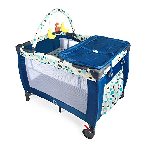 Tykegear Portable and Washable Baby Playard with Removable Diaper Changer, Storage Pocket, Toy Bar and Infant Bassinet (Blue)