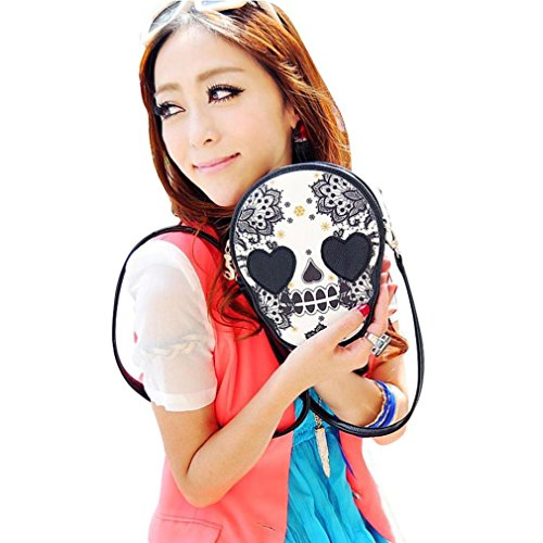 Price comparison product image Wome BagsCOPPEN Fashion Women Black Unique Skull Shoulder Messenger Bag Handbag Purse (Black)