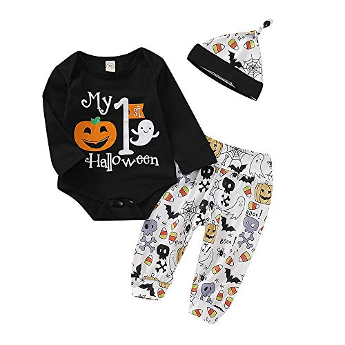Infant Baby Boys Girls My First Halloween Outfit Set Pumpkin Romper Ghosts Pants and Hat Baby Halloween Clothes Set 3 PCS ()