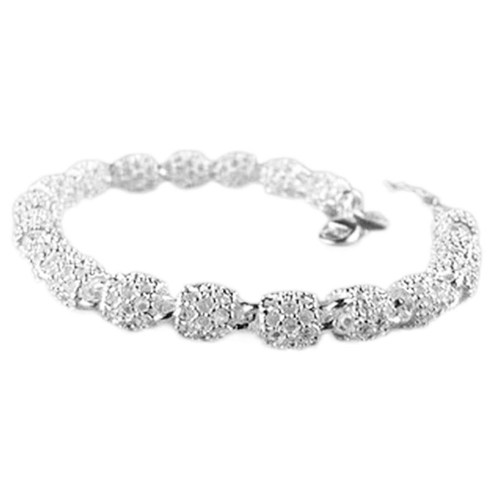 Cdet Bracelet en petite Perles ovales Creux Bracelet poignet en argent pour femme avec chaînette Mode élégante Filles Style Nouveau