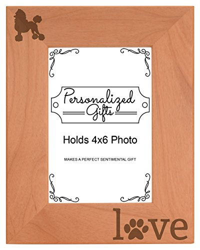 Poodle Gifts Pet Paw Prints Dog Owner Love Natural Wood Engraved 4x6 Portrait Picture Frame Wood (Poodle Pictures Dog)