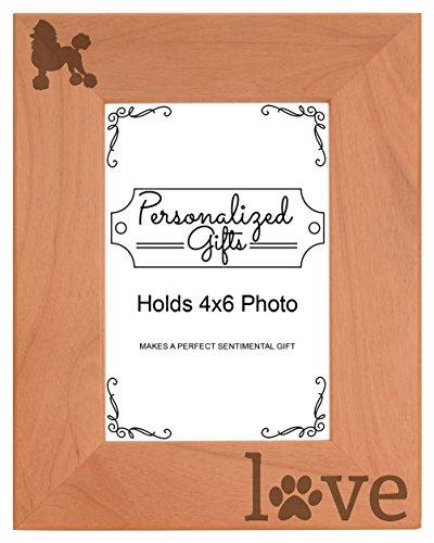 Frame Poodle (Poodle Gifts Pet Paw Prints Dog Owner Love Natural Wood Engraved 4x6 Portrait Picture Frame Wood)