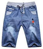 Papijam Boys Print Elastic Rise Drawstring Summer Capri Jeans Denim Shotrs Denim Blue 10/12