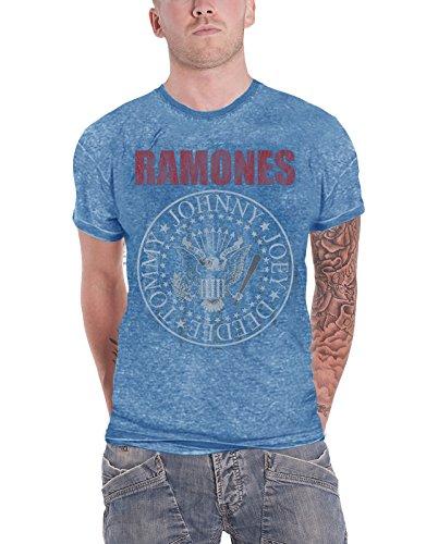 (Ramones T Shirt Presidential Seal Hey Ho Logo Official Mens Blue Burnout)