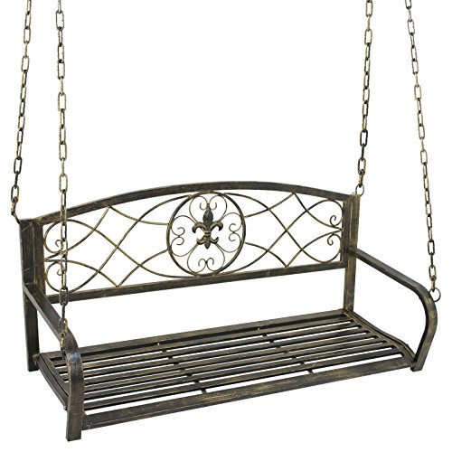 BBBuy Treated Porch Swing - Antique Metal Iron Patio Hanging Porch Swing Chair Bench Garden Swing Seat with Chains Outdoor Furniture Yard by BBBuy
