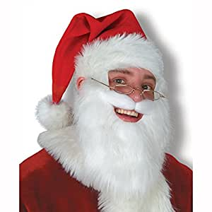 Plush Santa Hat w/Beard & Moustache Party Accessory (1 count) (1/Pkg)