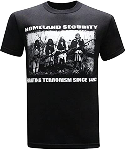 Homeland Security Fighting Terrorism Native American Indian Funny Men's T-Shirt - (X-Large) - Black (Native American Funny)