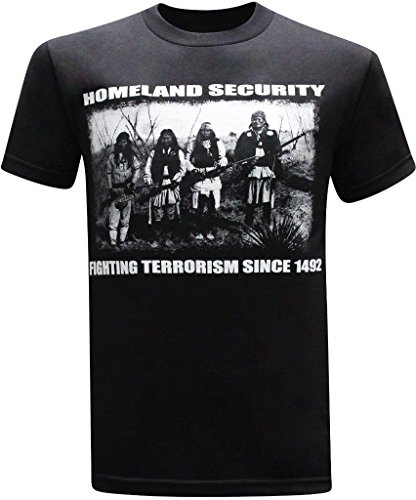 Homeland Security Fighting Terrorism Native American Indian Men's T-Shirt - (X-Large) - Black