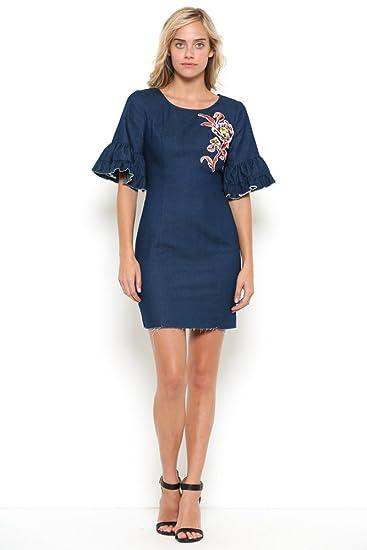 e9e04375fc ChuChi Ruffle Sleeve Denim Mini Dress (XS) at Amazon Women s ...