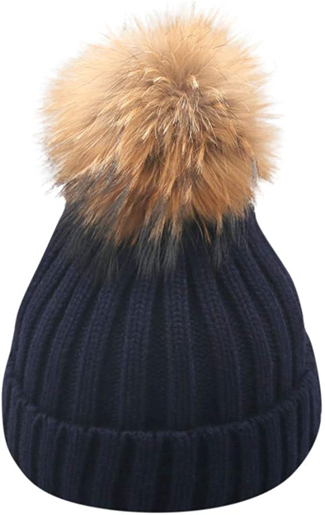 Thenxin Womens Knit Beanie Hat Winter Slouchy Warm Ski Cap with Faux Fur Pompom for Young Girls