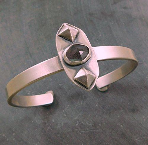 Rose Cut Labradorite Modernist Stud Geometric Oxidized Sterling Silver Cuff Bracelet
