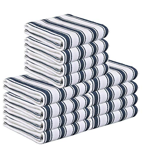Glamburg 100% Cotton Kitchen Towels and Dish-Towels 12-Pack 18x28 Basket Weave Stripe Tea Towels Cleaning Towels Highly Absorbent - Navy
