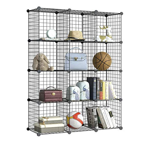 (BRIAN & DANY Metal Wire Storage Cubes, DIY 12-Cube Closet Cabinet and Modular Shelving Grids, Wire Mesh Shelves and Rack, Black)