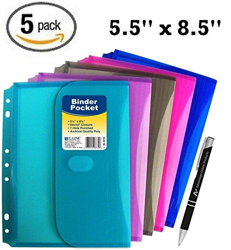 C-line Mini 5.5 x 8.5 Poly Binder Pocket w/ Hook Loop Closure, with Custom AOP Pen ()