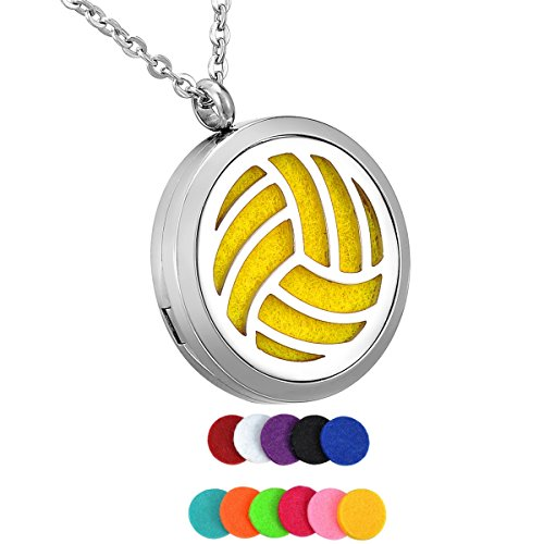 HooAMI Aromatherapy Essential Oil Diffuser Necklace Stainless Steel Volleyball Locket Pendant Jewelry,12 Refill Pads (Locket Volleyball)