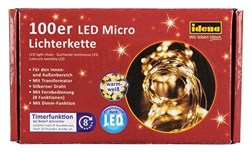 Idena LED Lichterkette für innen und außen, 100er, mit Timer, 31351 ...