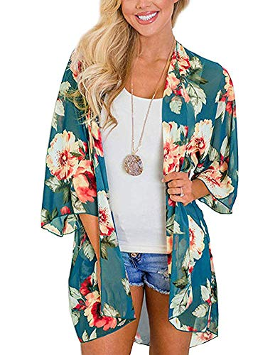 Sexy Swimsuit Swimwear Bikini Cover Up Wrap for Women Lightweight Chiffon Tops Summer Cardigan Size L