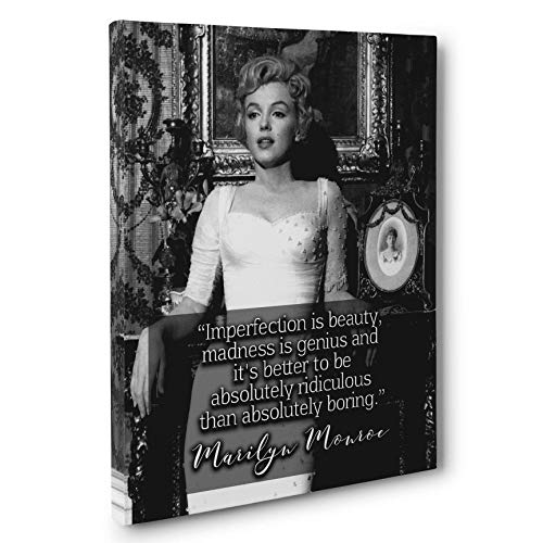 (Marilyn Monroe Imperfection is Beauty Motivation Quote Canvas Wall Art)