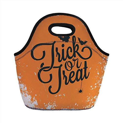 Neoprene Lunch Bag,Vintage Halloween,Trick or Treat Halloween Theme Celebration Image Bats Tainted Backdrop Decorative,Orange Black,for Kids Adult Thermal Insulated Tote Bags