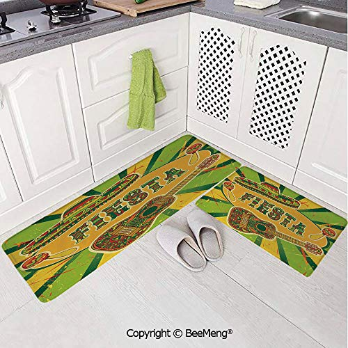 2 Piece Indoor Modern Anti-Skid Carpet Printed Block Bathroom Carpet,Fiesta,Colorful Latino Elements Sombrero Maracas Guitar Geometric Background Decorative,Green Mustard -