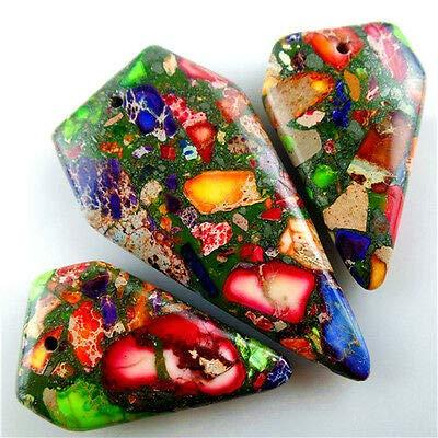 FidgetGear 3pcs Multicolor Sea Sediment Jasper &Pyrite Freeform Pendant Bead 46x22x6mm AJSY
