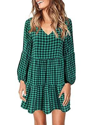 FOWSMON Women's Tunic Dress Cute Printed V Neck Long Sleeve Casual Swing Ruffle Dress
