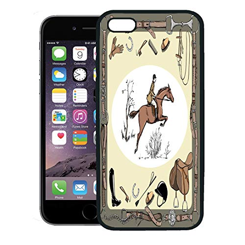 or iPhone 8 Plus case,Equestrian Sport Horse Rider England Steeplechase Derby in Belt Bit Saddle Bridle Stirrup Brush Riding iPhone 7 Plus case Cover,Black ()