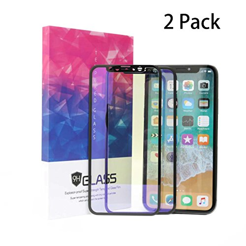 iPhone X Screen Protector,EStore 2 Pack Tempered Glass 3D Full Coverage Film for Apple X,Soft Edge,Eye Protection,Anti Blue Ray,Anti-fingerprint,Bubble Free,9H Hardness,HD Clear,Ultra-thin 0.2mm Black