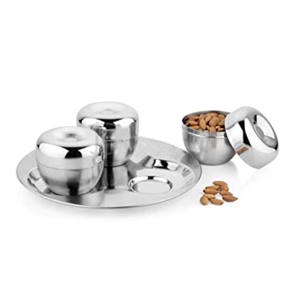 f06857c67 Buy Home Bargain   Stylish Dry Fruit Stainless Steel Box Storage Container  Set of 3 with Tray(Ideal for Gifting) Online at Low Prices in India -  Amazon.in