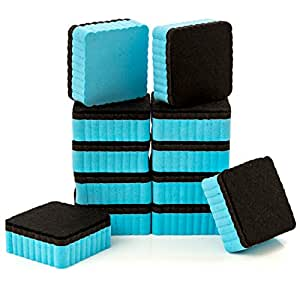 """12-Pack of Premium Magnetic Dry Erase Erasers / Dry Erasers - 2"""" x 2"""" - Perfect Whiteboard Erasers for Classroom, Home and Office"""