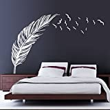 Chinatera Feather Flying Birds PVC Removable DIY Wall Sticker Room Decal Art (White)
