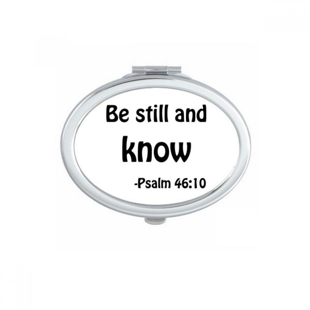 DIYthinker Be Still And Know Christian Quotes Oval Compact Makeup Mirror Portable Cute Hand Pocket Mirrors Gift