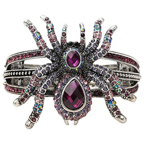 (Hiddlestion Hollowed-Out Crystal Rivet Studded Spikes Spider Bangle Hinged Bracelet Jewelry Halloween Costume Accessory Women Teen)