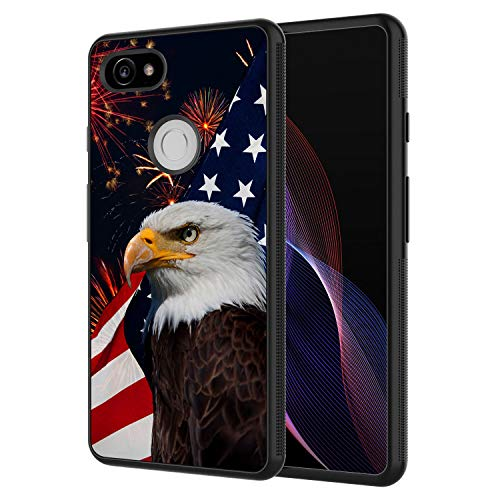 (Google Pixel 2 Case, AIRWEE Slim Shockproof Silicone TPU Back Protective Cover Case for Google Pixel 2 2017 Release,Bald Eagle American Flag)