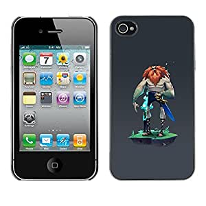 Be Good Phone Accessory // Dura Cáscara cubierta Protectora Caso Carcasa Funda de Protección para Apple Iphone 4 / 4S // Viking mysterious grey character man