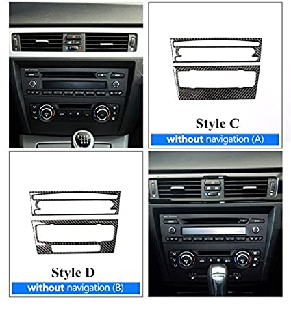 Carbon Fiber Center Console Air Conditioner /& CD Panel Trim Cover Style A