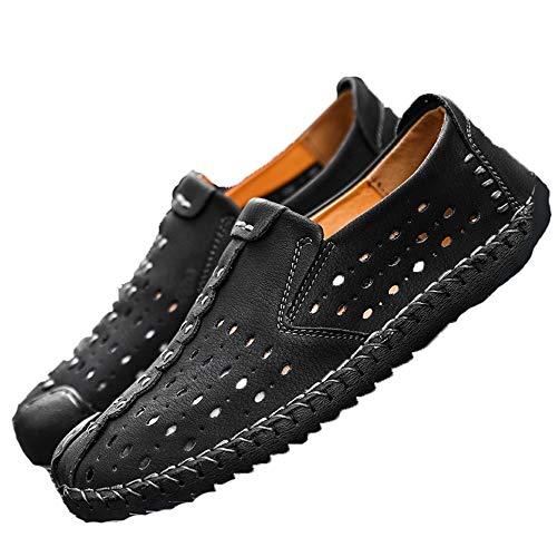 claros Gran de Negro cómodos Zapatos Huecos para Hombres en tamaño Suela Suaves Zapatos para Holgazanes TgP51qw