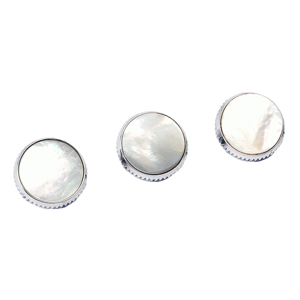 Dovewill 3Pcs Chrome Plated White Shell Finger Buttons Inserted for Trumpet Musical Instrument Replacement