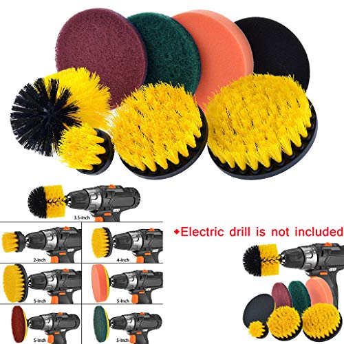 Veodhekai Drill Brush Scrub Pads 8 Piece Power Scrubber,Cleaning Kit All Purpose Cleaner Scrubbing Cordless Drill (Free, Color)