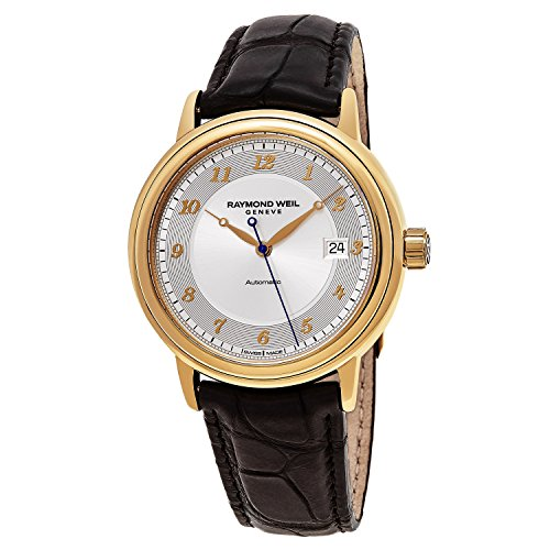 Raymond Weil Maestro Mens 18K Yellow Gold Silver Face Date Automatic Brown Leather Strap Swiss Watch 12837-G-05658