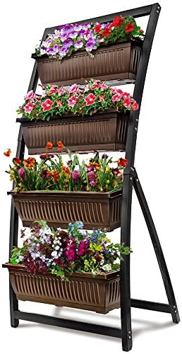 6-Ft Raised Garden Bed – Vertical Garden Freestanding Elevated Planter with 4 Container Boxes – Good for Patio or Balcony Indoor and Outdoor – Cascading Water Drainage (1-Pack/Espresso Brown)