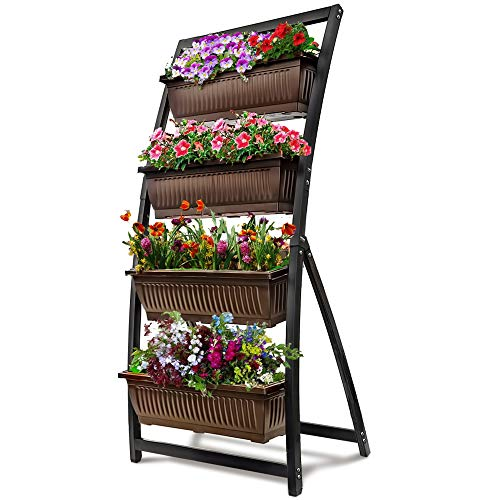 6-Ft Raised Garden Bed - Vertical Garden Freestanding Elevated Planter with 4 Container Boxes - Good for Patio or Balcony Indoor and Outdoor - Cascading Water Drainage (1-Pack/Espresso ()