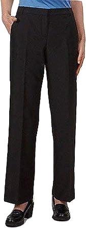 Van Heusen Pantalones De Uniforme Para Mujer Parte Delantera Plana Poliester Color Negro Negro 2 Us Amazon Es Ropa Y Accesorios