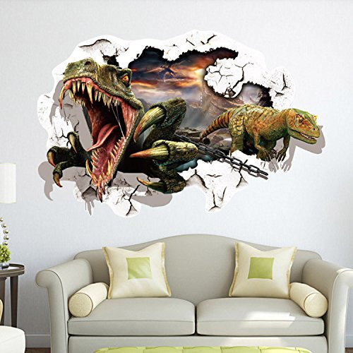 [EMIRACLEZE Christmas Gift Hot Sale Christmas Gift 3d Dinosaur Removable Mural Wall Stickers Wall Decal for Kids Children Room Home] (Animals That Start With The Letter A)