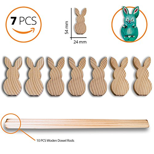 Wooden Bunny Decorations - Set of 7pcs Small Bunny/0.94-Inch x 2.12-Inch Cutout Shape and 10 pcs Wooden Dowels(12-Inch x 1/8-Inch) - Children's ART CRAFT